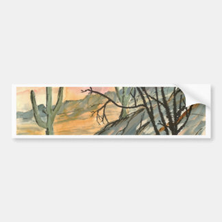 arizona evening southwestern landscape art bumper sticker
