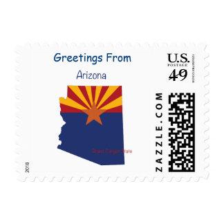 Arizona Flag and Map Postage