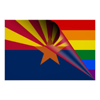 Arizona Flag Gay Pride Rainbow Poster