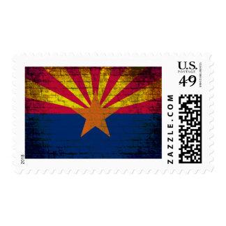 Arizona flag grunge brick wall postage stamps