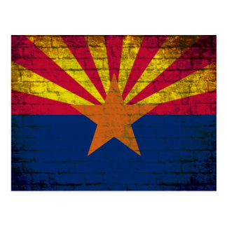 Arizona flag grunge brick wall postcard