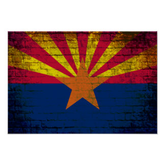 Arizona flag grunge brick wall poster