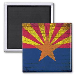 Arizona flag grunge brick wall square magnet