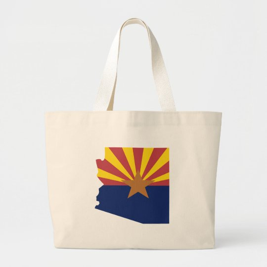 Arizona Flag Map Large Tote Bag