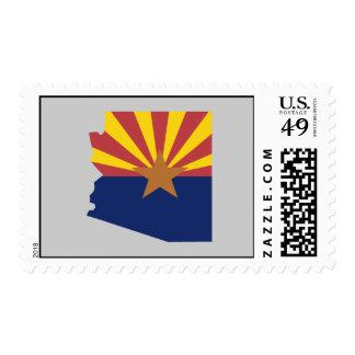 Arizona Flag Map Postage Stamp