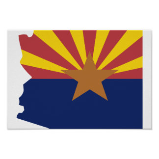 Arizona Flag Map Poster
