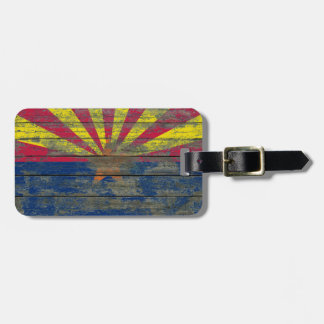 Arizona Flag on Rough Wood Boards Effect Luggage Tag