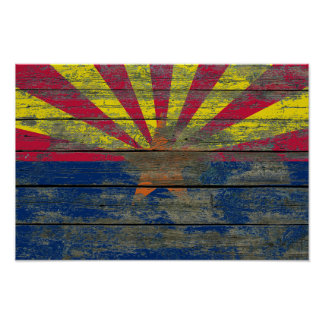 Arizona Flag on Rough Wood Boards Effect Poster