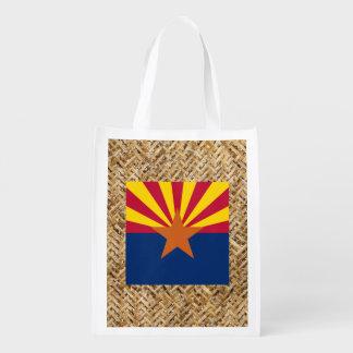 Arizona Flag on Textile themed Reusable Grocery Bag