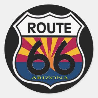 Arizona Flag Route 66 Shield Classic Round Sticker