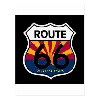 Arizona Flag Route 66 Shield Postcard