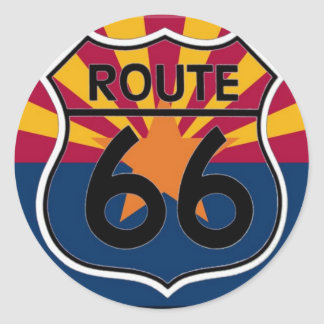 Arizona flag Route 66 Round Stickers