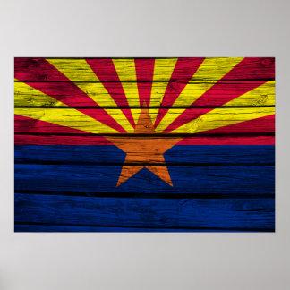 Arizona Flag Rustic Wood Poster