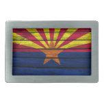 Arizona Flag Rustic Wood Rectangular Belt Buckle
