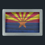"Arizona Flag Rustic Wood Rectangular Belt Buckle<br><div class=""desc"">The flag of Arizona painted on rustic wood.</div>"