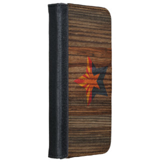 Arizona Flag Star on Wood theme Wallet Phone Case For iPhone 6/6s