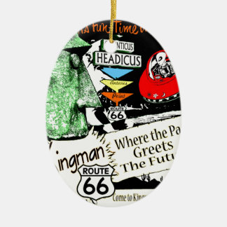 Arizona Fun-Time 1950s style Alien UFO Route 66 Double-Sided Oval Ceramic Christmas Ornament