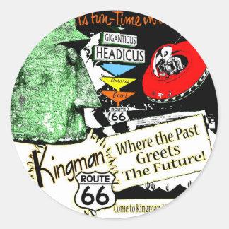 Arizona Fun-Time 1950s style Alien UFO Route 66 Round Stickers