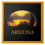 "Arizona Gold Sunset Tile<br><div class=""desc"">A gold desert sunset with the text Arizona an a tile.</div>"