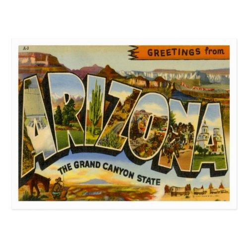 Arizona Greetings From US States Postcard