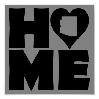 Arizona Home Heart State Poster Sign