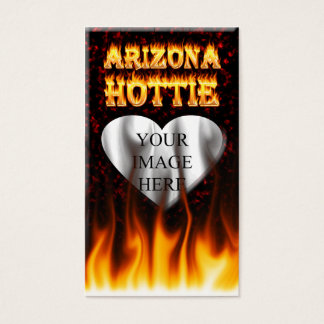 arizona hottie fire and flames red marble business card