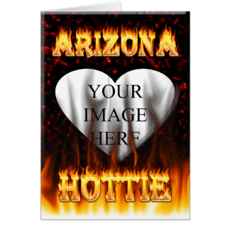 arizona hottie fire and flames red marble card