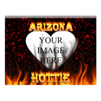 arizona hottie fire and flames red marble postcard