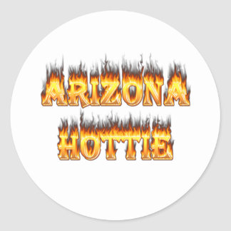Arizona Hottie Fire and Flames Round Stickers