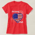 Arizona July 4th Fireworks Heart Flag Red  T-shirt