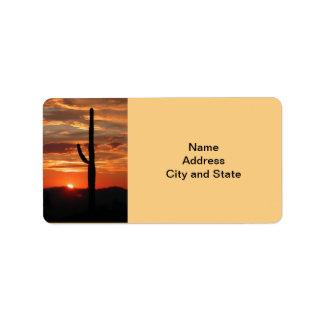 Arizona landscape sunset label