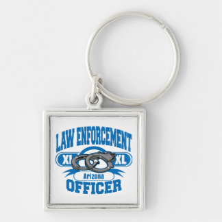 Arizona Law Enforcement Officer Handcuffs Silver-Colored Square Keychain
