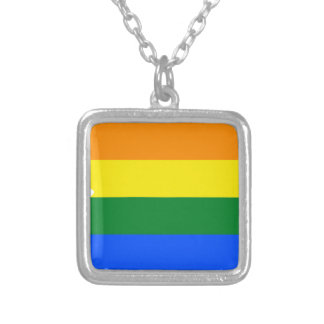 Arizona LGBT Flag Map Silver Plated Necklace