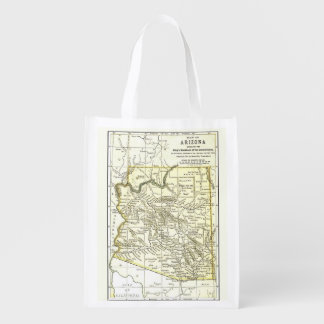 Arizona Map 1891 Towns, Rail and Reservations Grocery Bag