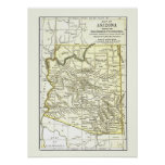 Arizona Map 1891 Towns, Rail and Reservations Posters