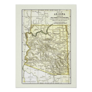 Arizona Map 1891 Towns, Rail And Reservations Poster at Zazzle