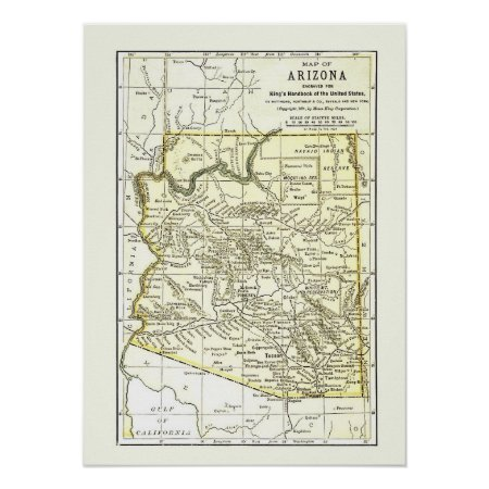 Arizona Map 1891 Towns, Rail And Reservations Poster