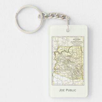 Arizona Map 1891 Towns, Rail, Indian Reservations Rectangle Acrylic Keychain