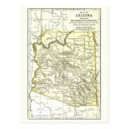 Arizona Map 1891 Towns, Rail, Indian Reservations Postcard at Zazzle