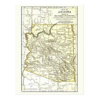 Arizona Map 1891 Towns, Rail, Indian Reservations Post Cards