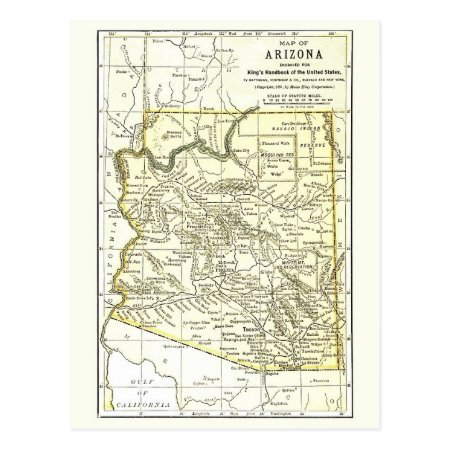 Arizona Map 1891 Towns, Rail, Indian Reservations Postcard
