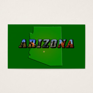 Arizona Map and Picture Text Business Card