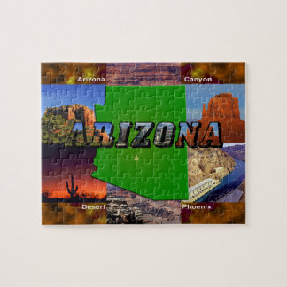Arizona Map and Picture Text Jigsaw Puzzle