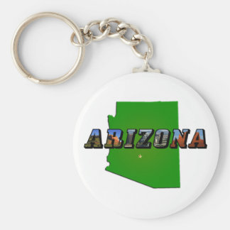 Arizona Map and Picture Text Keychain