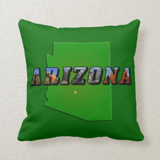 Arizona Map and Picture Text Throw Pillow