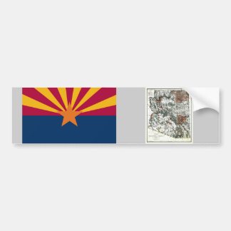 Arizona Map and State Flag Bumper Sticker