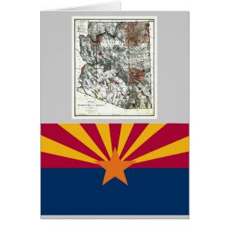 Arizona Map and State Flag Card