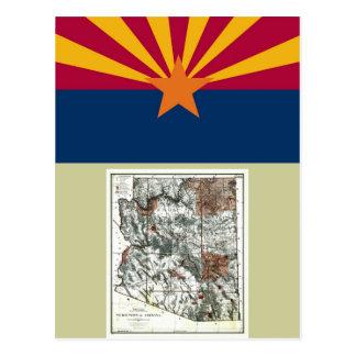 Arizona Map and State Flag Postcard
