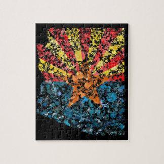 Arizona map & flag USA United States painting Jigsaw Puzzle