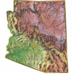 "Arizona Map Magnet Cut Out<br><div class=""desc"">This magnet,  shaped like the state of Arizona,  displays a relief map of the state surrounded by a gold effect border. Arizonan decor for your fridge. 